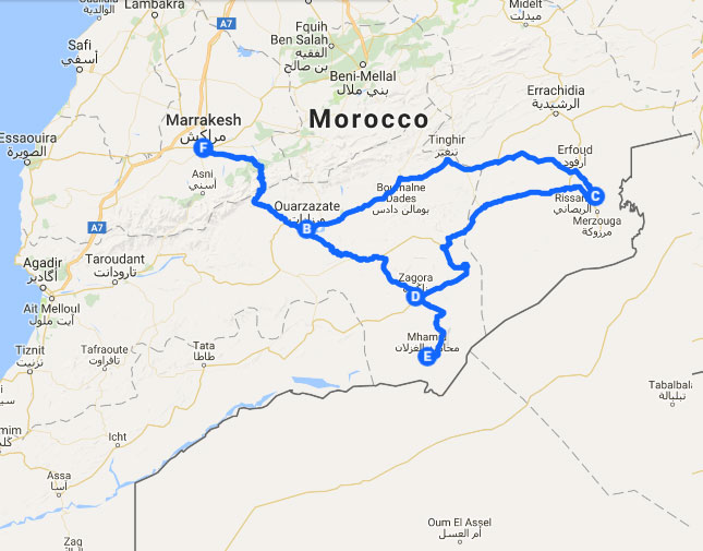 MAP OF TOUR IN MOROCCO